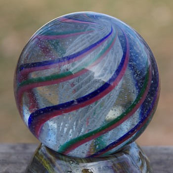 Giant German Handmade Latticino Core Swirl Marble - Games
