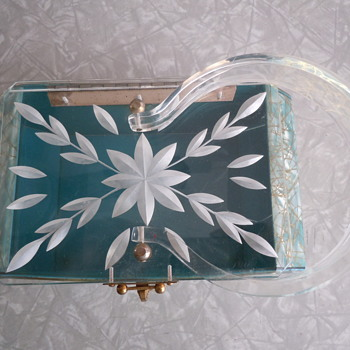 Lucite Handbag Aqua with Pearl and Gold Vain