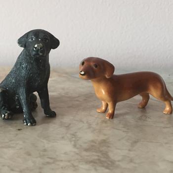 Tiny Dog figurines! Labrador and Dachshund - Animals