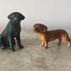Tiny Dog figurines! Labrador and Dachshund