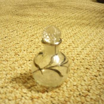 American silver overlay perfume bottle