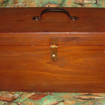 Handcrafted vintage Wood Tackle Box - Fishing
