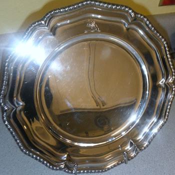 "Early 11"" 644 gram London sterling platter -Unknown maker??? - Silver"