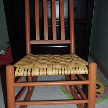 Slat Back Chair Restored with Splint and Milk Paint - Furniture
