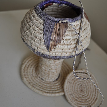 Woven basket in the shape of a goblet. Who made it? - Native American