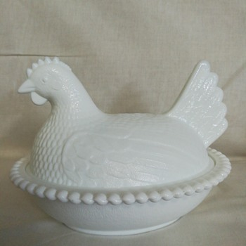 Milk glass hen on nest dish by Indiana Glass - Glassware