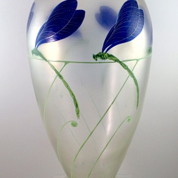 "Rare Fritz Heckert ""Kristallcypern"" vase enameled by Dr. Willy Meitzen, ca. 1900 - Art Glass"