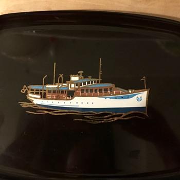 Vintage Couroc of Monterey Nautical Theme Tray Motor Yacht - Mid-Century Modern