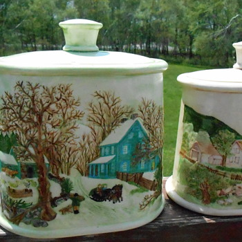 Hand Painted Ceramic Canisters - Kitchen