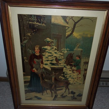 Woman feeding deer (print?) - Posters and Prints