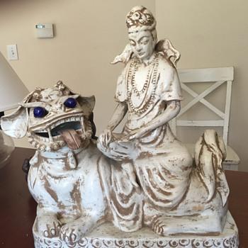 Foo Dog or shishi, with Quan-yin.