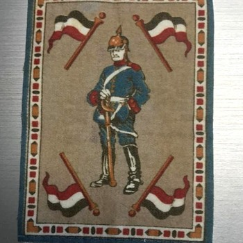 Miniature Doll House Tapestry Rug German Soldier? WWI or WWII. - Dolls