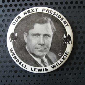 Wendell Lewis Willkie Button - Politics