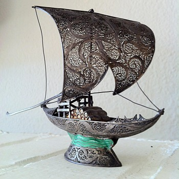 Signed Antique Silver/Gold Filigree Portuguese Cargo Ship - Folk Art
