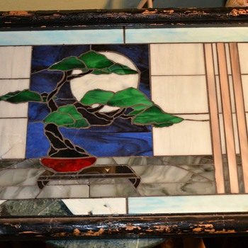 Broken Stained Glass Window with Bonsai - worth fixing?