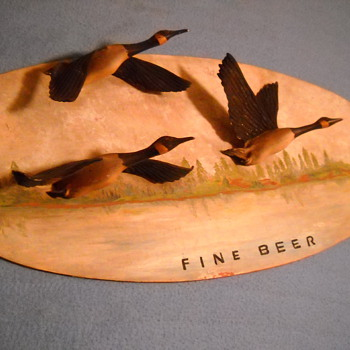 Fine Beer wood sign with Geese - Breweriana