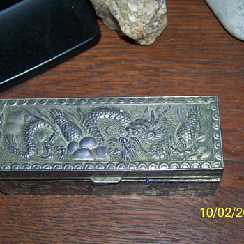 """Stamp Box  """"MADE IN OCCUPIED JAPAN"""" stamped on bottom - Asian"""