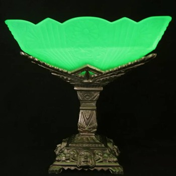 Art Deco Uranium Glass Bowl on Metal Stand...Maker Unknown - Art Deco