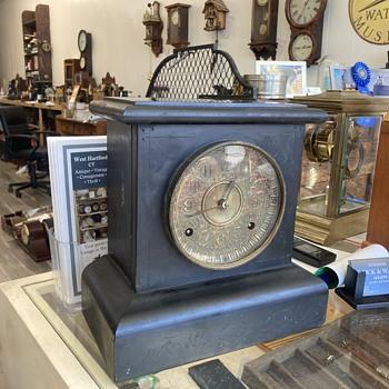 1893 Seth Thomas adamantine mantle clock - before  - Clocks