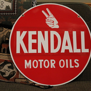 KENDALL  Motor Oil double sided sign Repainted on 1 side - Petroliana