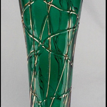 Pallme Konig -  Rindskopf ? tall veined vase  - Art Glass