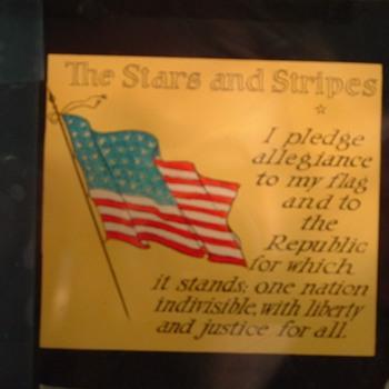 old pledge of allegiance on glass slide