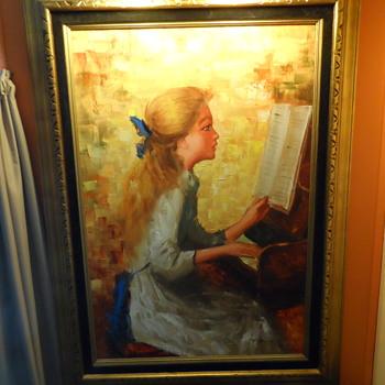 "Modern Painting of Renoir "" Girl Playing Piano"" - Fine Art"