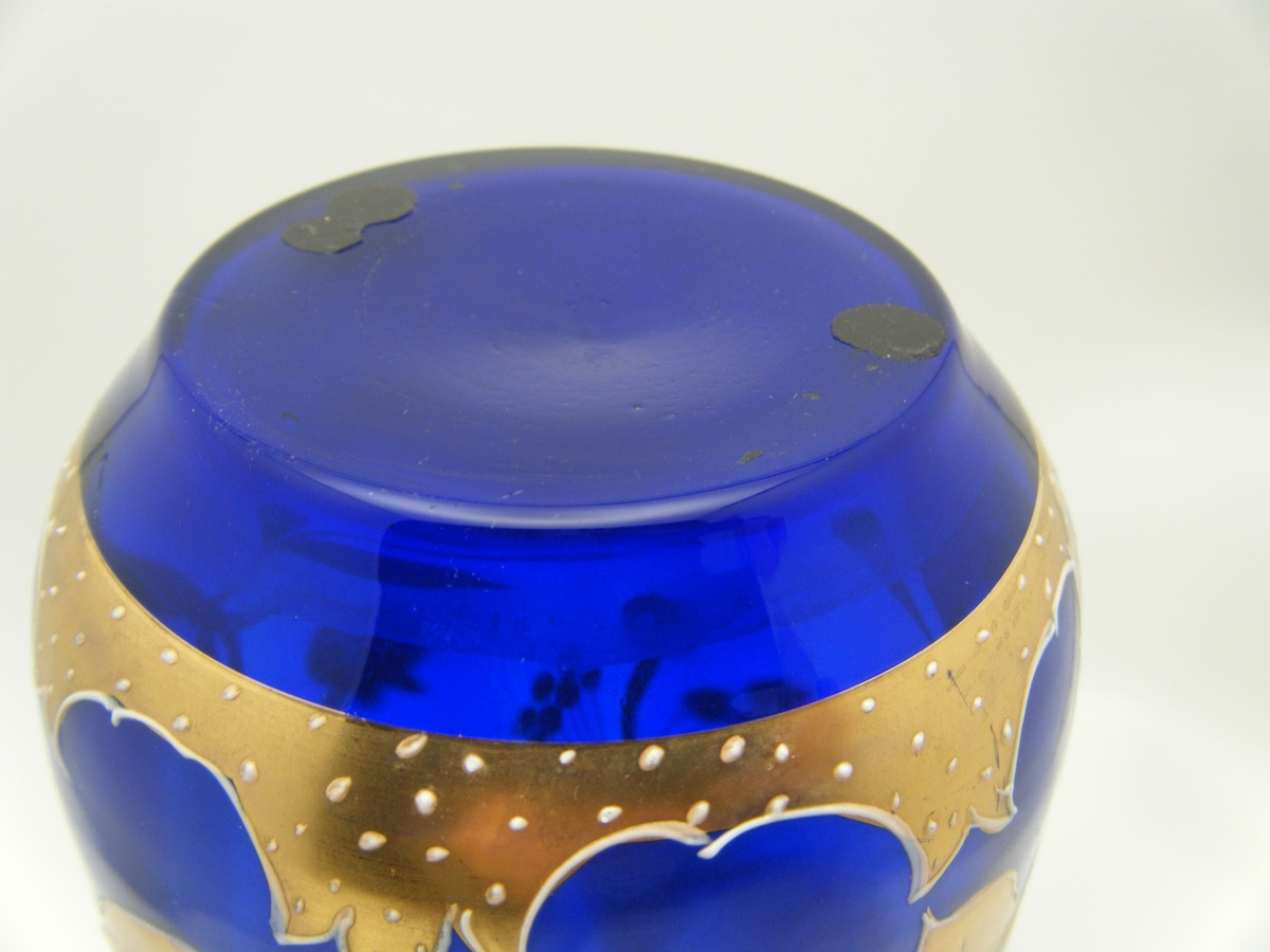 Harrach or josephinenhutte art nouveau jugendstil blue cobalt art nouveau jugendstil blue cobalt glass vase gilded lily collectors weekly floridaeventfo Image collections