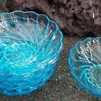 Blue depression glass - Glassware