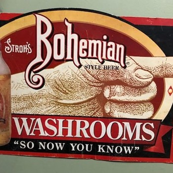 Stroh's Bohemian Style Beer Washroom Sign - Breweriana