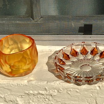 Artel Glacier Art Glass Tumbler & 1970's Blenko Dish - Art Glass