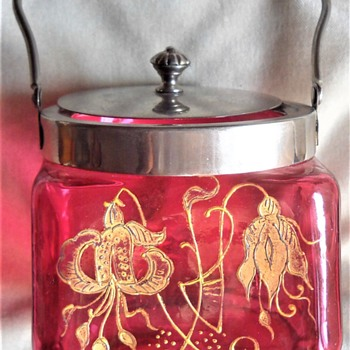 Bohemian Art Nouveau  metal mounted lidded glass jar bowl  - Art Nouveau