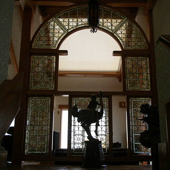antique stained glass approximately 20 foot tall, heart piece at landing  - Art Glass