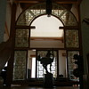 antique stained glass approximately 20 foot tall, heart piece at landing