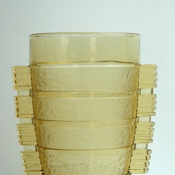 french art deco pressed glas vase by PIERRE  D'AVESN - Art Deco