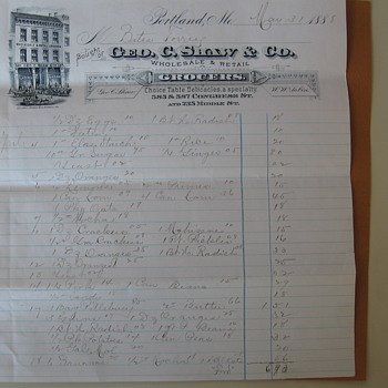 1888 George C. Shaw & Co. Grocer Letterhead - Paper