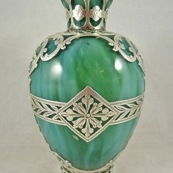 Loetz Malachit vase with silver overlay, ca. 1885-95. - Art Glass