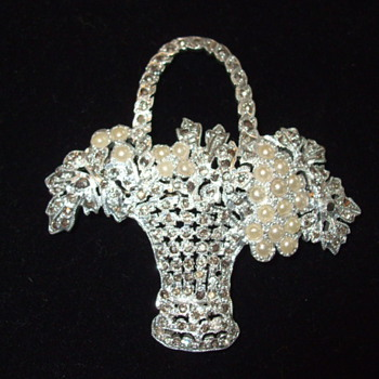 Vintage Pearl & Marcasite FLOWER BASKET Brooch- Recognize The Mark? - Fine Jewelry