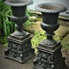 Victorian Cast Iron Garden Urns On Plinths Brimfield Massachusetts