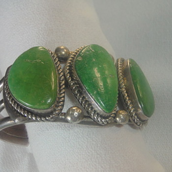 Vintage Old Style Silver 3 Stone Green Turquoise Cuff by Alex Sanchez