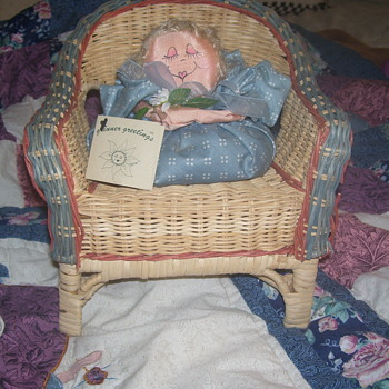 HAND MADE WICKER CHAIR & DOLL SITTER-
