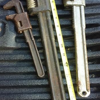 three old iron 'monkey wrenches' - Railroadiana