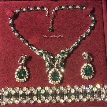 Sherman Jewelry Parure — Green & Clear, 3 Piece, Swarovski Crystal - Costume Jewelry