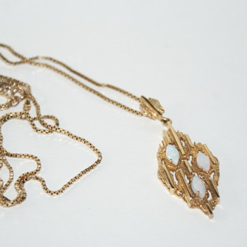 10K Gold and Opal Brutalist Necklace - Fine Jewelry