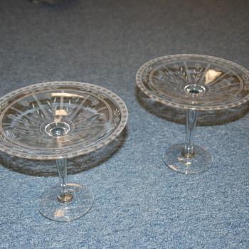 Crystal cut glass Pedestal Stands (2)