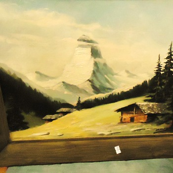Oil painting Matterhorn, I think! - Posters and Prints