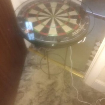 Repurposed Dartboard table, reycled re-invented and made by me. Union match dartboard, round tempered glass, plus lights - Furniture