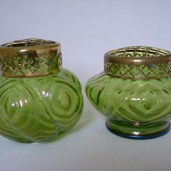 Art Nouveau Iridescent Kralik Rose Bowls - Art Glass