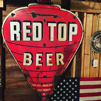 Red Top Beer double-sided porcelain sign  - Breweriana
