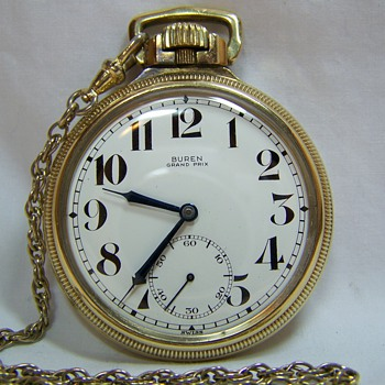 Buren Grand Prix pocket watch with chain - Pocket Watches